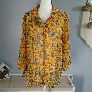 Sheer mustard/turquoise button down 2X